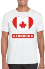 Shoppartners Canada t-shirt met Canadese vlag in hart wit heren S