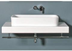Crosstone by Arcqua Crosstone Ayza opbouwwastafel 38.5x61x13cm 0 kraangaten rechthoek Solid Surface wit mat CTWL-3003