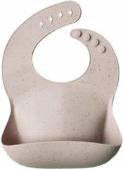 Beige Mushie Siliconen Baby Slabbetje met Opvangbakje | Shifting Sand Terrazzo | BPA ftalaatvrij| afwasbaar