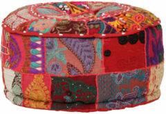VidaXL Poef patchwork rond handgemaakt 40x20 cm katoen rood
