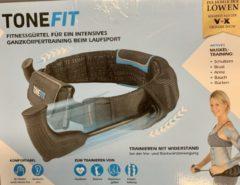 Blauwe ToneFit-fitnessriem voor eenvoudige training van het hele lichaam tijdens het hardlopen