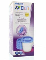 Witte Philips Avent bewaarbeker voor moedermelk SCF619/05, 5x 180 ml-beker inclusief deksel