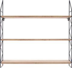 Zwarte (present time) Pt, Zig Zag Wandrek met Planken Hout 60 x 11 cm - Zwart