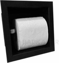 Sani Royal Inbouw WC rolhouder RVS Mat Zwart voor 1 rol 9cm diep