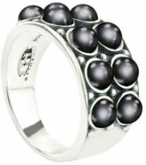 Symbols 9SY 0066 62 Zilveren Ring - Maat 62 - Parel - Grijs - Geoxideerd