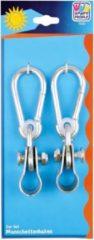 Merkloos / Sans marque 2x Schommelhaken met bevestigingsring en karabijnhaak - diameter bevestigingsring 2,5 cm - voor ophangen en bevestigen van schommels / voorwerpen - schommelhaken / karabijnhaken