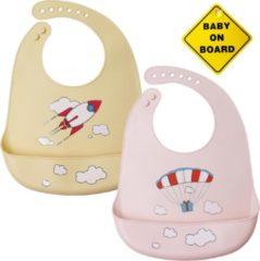 Flouer Siliconen Slabbetje met Opvangbak 2 Stuks Inclusief Baby on Board Bordje - Slab - Slabbetjes Baby - Slabbetjes - Slabber - Slabbers baby - BPA Vrij - Khaki en Roze