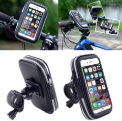 Zwarte Waterdichte Fiets Smartphone houder – Fiets Houder Telefoon – Fiets stuur tas – 4.7 inch - – Geschikt voor o.a. iPhone 7+ / iPhone 6 / Samsung Galaxy S8+ / Huawei P9+ - Maat L