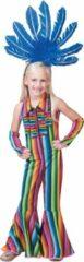 Funny Fashion Hippie Kostuum | Ibiza Hippie Jumpsuit | Meisje | Maat 164 | Carnaval kostuum | Verkleedkleding