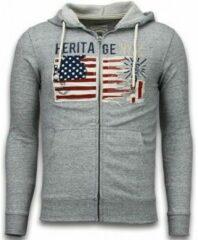 Grijze Enos Casual Vest - Embroidery American Heritage - Grijs - XS