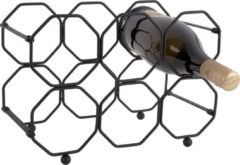 Present Time Decoratieve objecten Wine rack Honeycomb foldable iron Zwart
