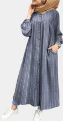 Marineblauwe ZANZEA Casual Striped Print Button Dres