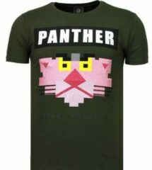 Local Fanatic Panther For A Cougar - Rhinestone T-shirt - Groen Panther For A Cougar - Rhinestone T-shirt - Wit Heren T-shirt Maat XL