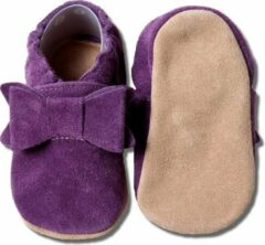 Hobea - babyslofjes - suede - donker paars met strik
