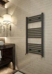 Antraciet-grijze Eastbrook Wingrave mat antraciet straight multirail badkamer verwarming 800 x 400mm (afgebeeld 1000 x 500mm)
