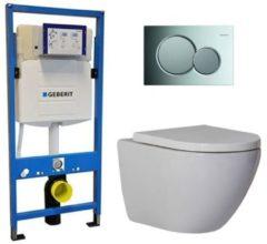 Douche Concurrent Geberit UP 320 Toiletset - Inbouw WC Hangtoilet Wandcloset - Shorty Sigma-01 Glans Chroom