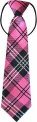 Fako Fashion® - Kinderstropdas - Print - Elastiek - Roze/Zwart/Wit Geruit