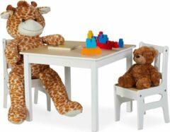 Witte Relaxdays kindertafel met stoelen - 2 stoeltjes - zitgroep - kindermeubel - speeltafel