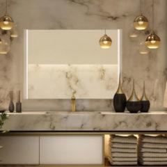 Zilveren Diamond Line Badkamerspiegel Double 80x60cm Geintegreerde LED Verlichting Verwarming Anti Condens Lichtschakelaar Dimbaar