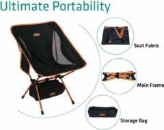 Campking Compact Campingstoel - Zwart - ultralicht en opvouwbare campingstoel in een tas, buitenstoel opvouwbaar - voor buiten, kamperen, picknicken, wandelen