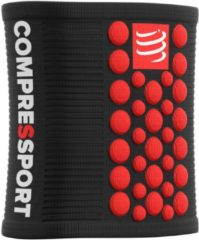 Zwarte Compressport Sweatbands 3D.Dots - BLACK/RED - Uniq Size