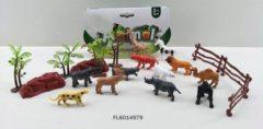 Massamarkt Wilde dieren in zak met accesoires 21 delig