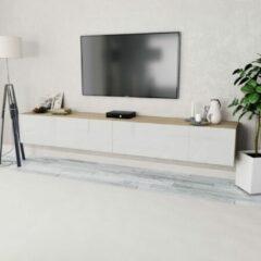 VidaXL Tv-kasten 120x40x34 cm spaanplaat hoogglans wit en eiken 2 st
