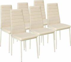 Tectake 6 stuks eetkamerstoel , beige , eetkamerstoelen 401852
