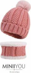 MINIIYOU - Set muts colsjaal Fleece Baby (4-12 maanden) Roze | Beanie pompom - meisjes jongens sjaal