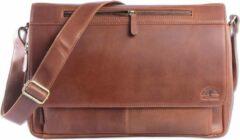 Wild Woodss WILD WOODS Leren Laptop Messenger Bag Unisex Schoudertas – 15,6 inch Laptoptas – Oil Pull-up Leer - Cognac