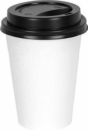 Afbeelding van Packadi Kartonnen Koffiebeker 8oz 240ml wit + zwarte deksels - 100 Stuks - wegwerp papieren bekers - drank bekers - milieuvriendelijk
