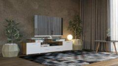 Bruine Maxima House - EVORA S - TV Meubel - Hoogglans - Inclusief LED - Inclusief Glas - 195 cm - Country Eiken / Wit - Modern Design