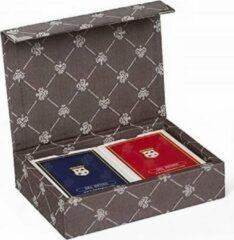 Dal Negro speelkaarten met houder Prestige textiel bruin 3-delig