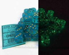 Turquoise Steve Jackson Games Set 36 6-zijdig, 12mm Borealis Luminary - Teal w/gold