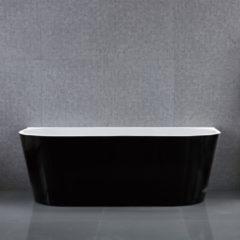 Douche Concurrent Ligbad Half Vrijstaand Adoria Ovaal 80x170x58cm Glasvezelversterkt Hoogwaardig Acryl Zwart met Badwaste en Overloop