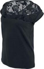 Urban Classics Ladies Top Laces Tee Maglia donna nero