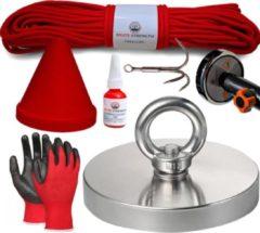 Brute Strength Vismagneet set - 600KG - 20 m touw - Handschoenen - Dreghaak - Prikstok adapter - Beschermkap - Magneetvissen starterspakket - Borgmiddel (10 ml)
