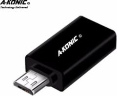 A-Konic ©- verloop adapter USB-adapter naar Micro usb | Opzetstuk | USB to Micro-usb Converter | zwart