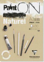 Naturelkleurige Clairefontaine Paint On Multi-Techniques Naturel A3 42 x 29.7 cm 250g/m2 30 Sheets