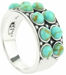 Symbols 9SY 0062 58 Zilveren Ring - Maat 58 - Turkoois - Turquoise - Geoxideerd