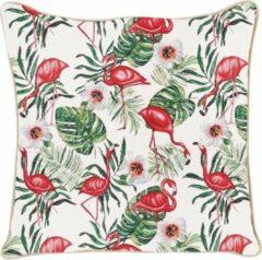Beige Signare Kussenhoes - Gobelin - Flamingo - 45 cm