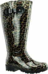 Regenlaars Bruin Beige Leopard WIDE WELLIES Kuitomvang 45 cm XL maat 42