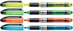 Witte Stabilo Markeerstift Navigator etui van 4 stuks: geel, blauw, groen en oranje