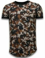 Bruine T-shirt Korte Mouw John H Camouflaged Fashionable T-shirt - Long Fit Shirt Army Pattern