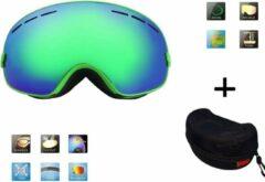 Ski & Snowboard bril / Goggle met hard case lens Smoke groen frame Groen F type 5 Cat. 0 tot 4 - ☀/☁ lens kan verwisseld worden is extra optie.