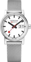 Witte Mondaine evo2 MSE.30210.SM Horloge - Edelstaal - Zilverkleurig - Ø30 mm