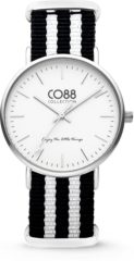 CO88 Collection Watches 8CW 10035 Horloge - Nato Band - Ø 36 mm - Zwart / Wit