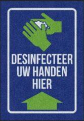 Blauwe MatStyles Vloerkleed Tapijt Message Mat- Desinfecteer uw handen hier - 85x60 - COVID-19 - Wasbaar