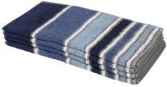 Cottonbelle Handtuch, blau, gestreift, 4er-Set
