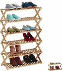 Naturelkleurige Relaxdays schoenenrek bamboe - opvouwbaar - schoenenkast - opbergrek - schoenen organizer 6